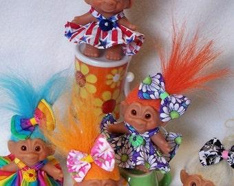 Troll Doll Dress Handmade 2 - 5 Inch Vintage Dam Wishnik Couture YoYoCottage U-Pick