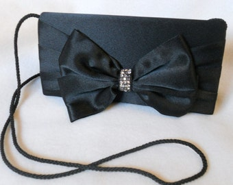 Vintage Clutch Purse Black Satin Rhinestone Prom Wedding New Year Dress Formal Handbag