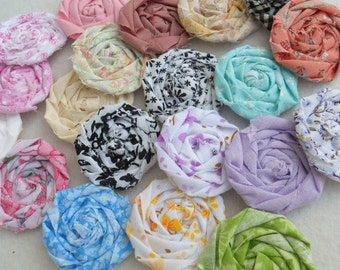 "Rolled Roses Fabric Flowers Hairclip Wedding Bobby Pins Card Birthday Party Photo Prop Rosette 1"" Scrapbook Handmade Wholesale 40"