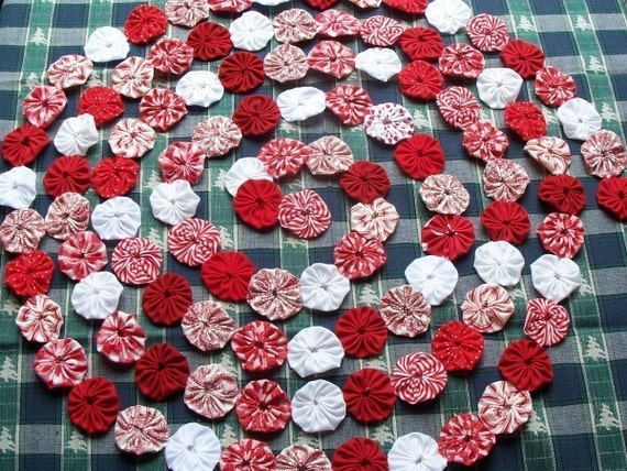 Christmas Tree Garland Peppermint  Bunting YoYo Yo Fabric Party Banner Streamer Photography Prop  3'