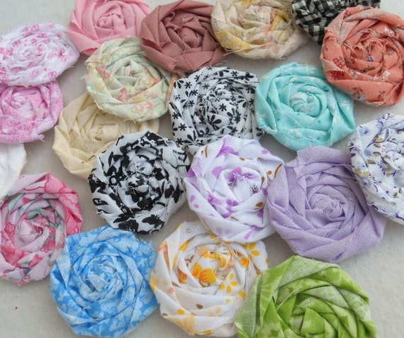 "Rolled Roses Fabric Flowers Hairclip Bride Wedding Shower Birthday Bobby Pin Photo Prop French Rosette 1"" Scrapbook Handmade Wholesale 20"