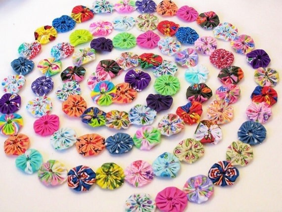 "Cupcake Toppers Fabric Flowers 2"" Button 50 YoYo Rainbow Birthday Party Shower Wedding Hair Bobby Pin Scrapbook Wholesale Handmade"
