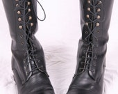 vintage designer pasa made in italy army combat military lace up black leather grunge 90s granny punk rock boots sz 41 8 fits like us 10