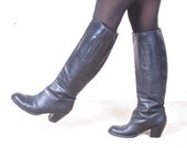vintage 80s equestrian tall knee high stacked heel horse riding boots us 7