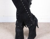 vintage 80s tall suede studds rocker spike pixie heel pull up western tall black leather boots womens sz 7 1/2 (29)