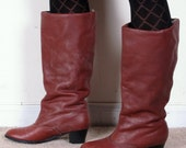 vintage LANDS END 70s wool insulated leather womans cowboy cowgirl campus tall knee high rubber sole boots sz womans 7