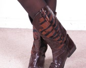 vintage 80s zebra animal print cowhide suede leather western calf length boots sz 7.5 (30)