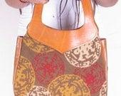 Vintage 70s Tan Genuine Leather Carpet Needle Point Hobo Med Shoulder Bag