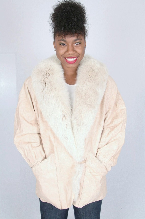 VINTAGE 80s J. PERCY FOR MARVIN RICHARDS ARTIC FOX AND LEATHER FUR COAT JACKET MED LG