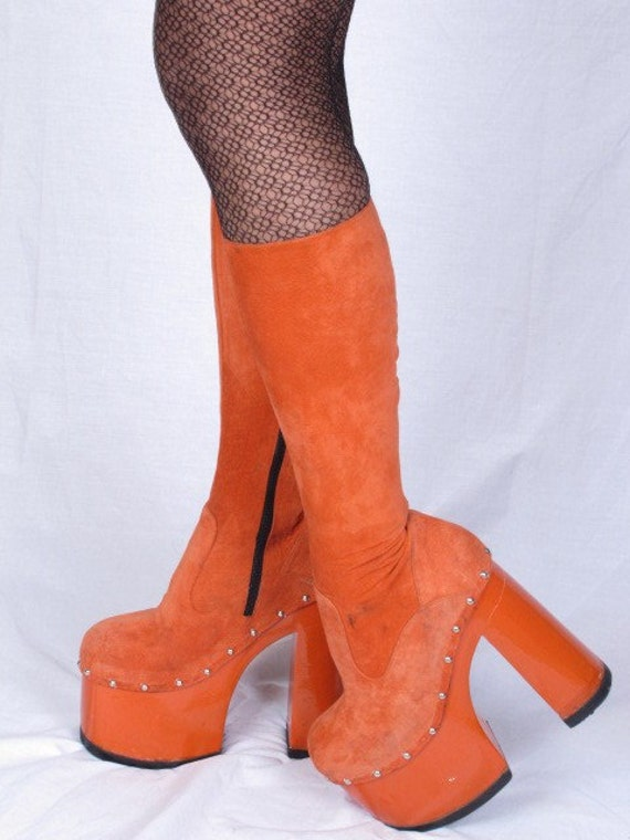 Sale Vintage Chunky Platform Orange Lacquer Suede 70s Silver Studd Trim Disco Mod GoGo made in Italy Boots Sz 36