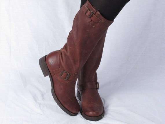 vintage made in mexico FRYE HARNESS nutmeg western cowboy cowgirl biker side buckle campus stacked heel leather womens boots sz 9 new old stock