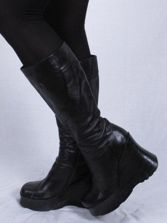 Vintage Chunky Platform ALDO black leather 70s Disco Mod GoGo Boots Sz eur 40 us 9.5