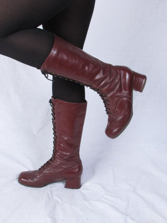 vintage burgundy insulated leather lace up 6 1/2