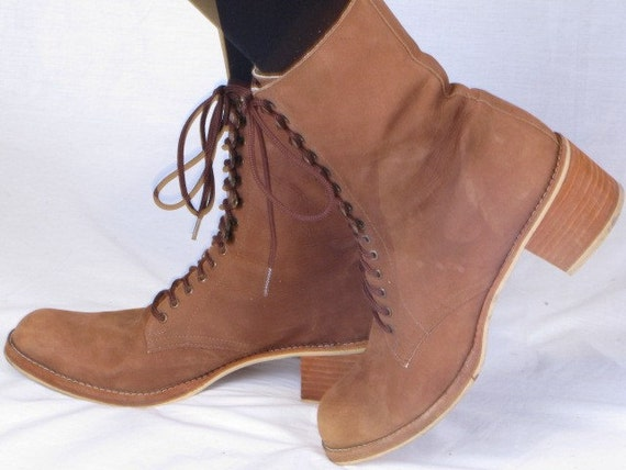 vintage 80s PAZZO light brown lace up brown suede combact granny grunge ankle boots 8.5