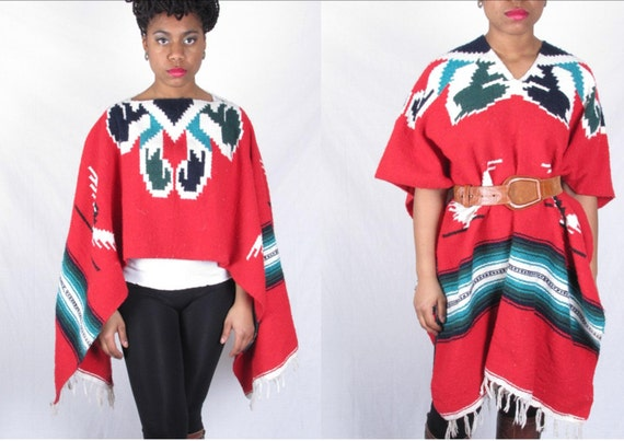 sale vintage AmAZiNg NaVaJo MexICaN ReD eAGLe eTHnIC BlAnKeT PaNcHo sWeATeR ShAwL CaPe sm med lg