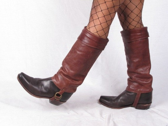 RESERVED vintage HARNESS black and brown leather womans cowboy cowgirl tall cuffed campus stacked heel boots sz womans us 10