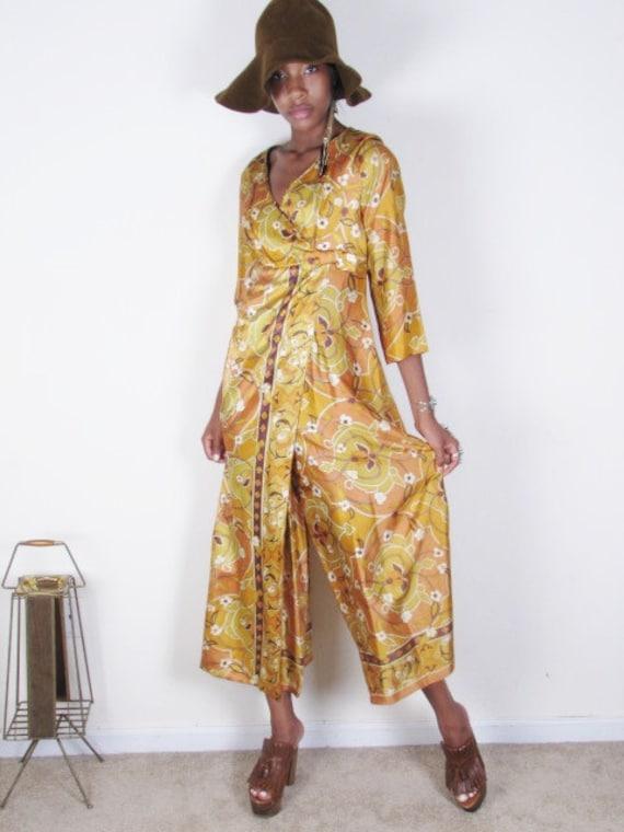 sale Vintage 70s PALAZZO wrap JUMPSUIT Hippie Gypsy Boho Floral Ethnic Print Bell Bottom Flare Leg Pants Maxi Dress