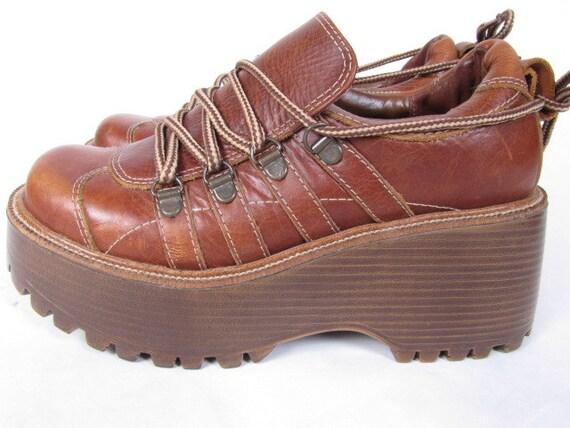 vintage 90s grunge PLATFORM brown saddle brown lace up made in brazil us 6 B