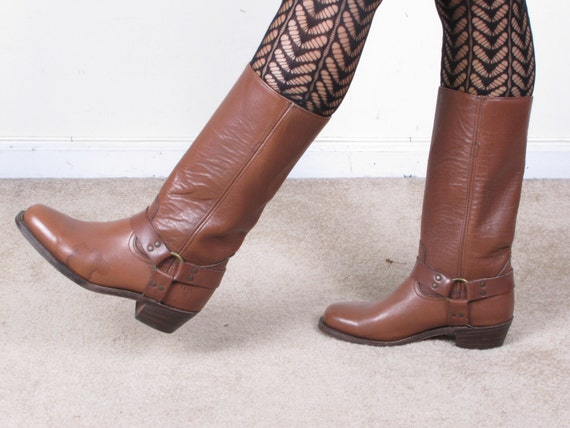 vintage FRYE HARNESS brown leather womans cowboy cowgirl campus  stacked heel ankle boots sz womans us 10 mens 8D