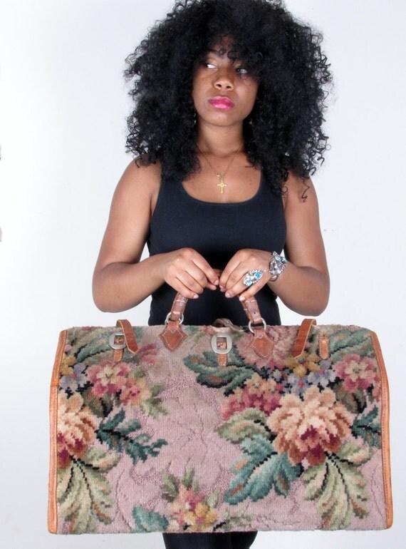 reserved for lezlie 30s Vintage Kilm Huge Turkish Carpet Tanned Leather Traveler  Weekender Luggage Carry-On Weekender Suitcase