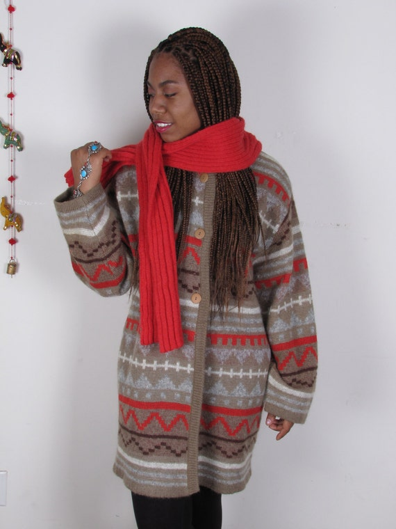 VinTagE MexICaN NaVaJo eTHnIC WoOl LoNg  ScArf sWeATeR sm med lg