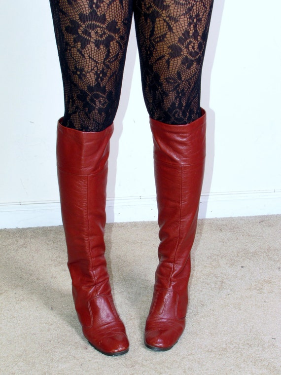 Vintage SELBY 1960s MoD 70s GoGo rust leather boots sz 7