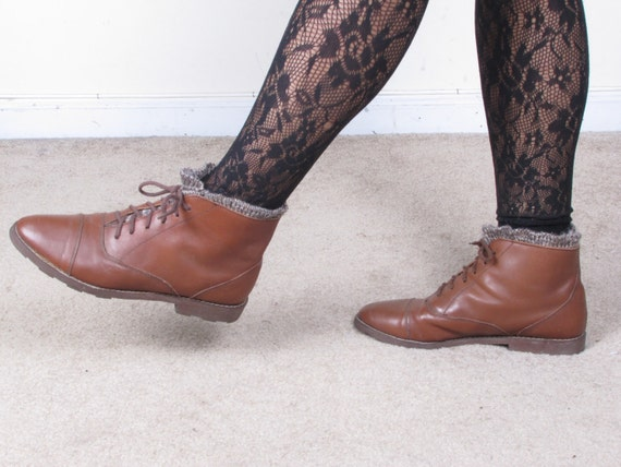 reserved until 1/12 vintage made in romania FAYLA brown wool knit trim lace up leather combat granny grunge boots sz 8