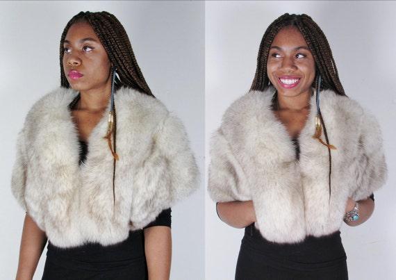 amazing 50s PluSh vintage artic white silver crystal gray fox cape fur stole shawl wrap