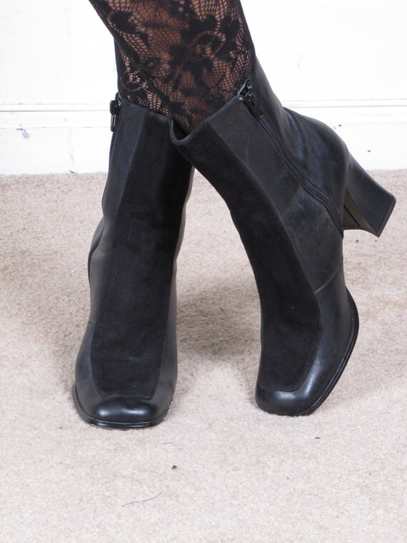 vintage 90s square toe black suede and leather granny stacked stack heel boots sz womens sz 9