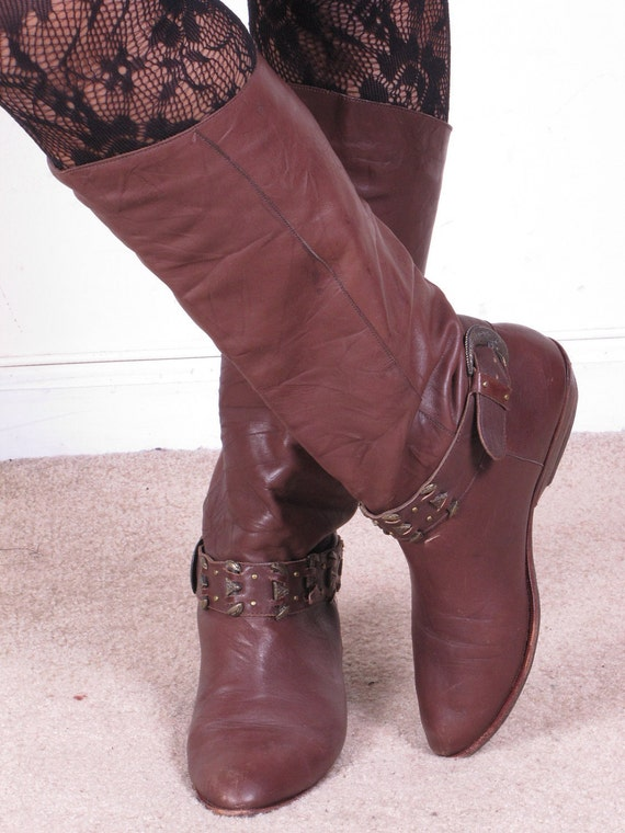 vintage 80s DINGO brown leather riding campus western side buckle cowgirl cowboy pull on womens sz  boots 9