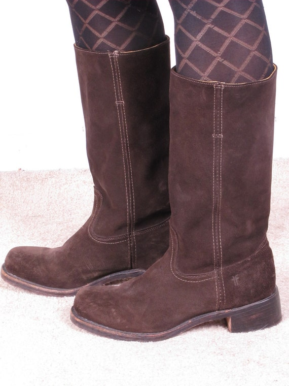 vintage FRYE brown suede leather womans cowboy cowgirl campus tall knee high stacked heel boots sz womans 11