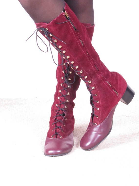 Vintage 1960s MoD 70s GoGo lace up burgundy leather and suede boots sz 9 M