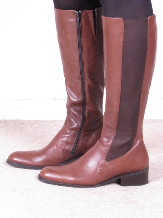 vintage 90s brown leather elastic side panels riding campus western tall side buckle boots sz 40 9 1/2