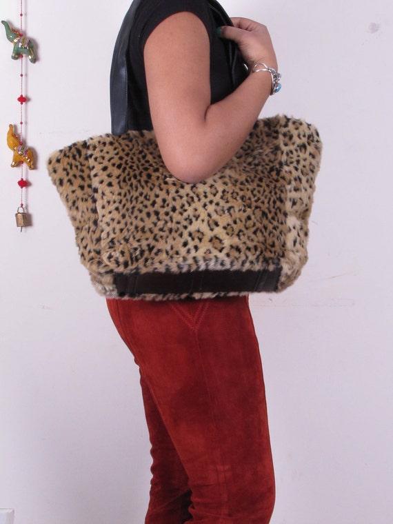 Large Vintage Faux Fur Animal Leopard Print Leather Shopper Shoulder Bag Tote