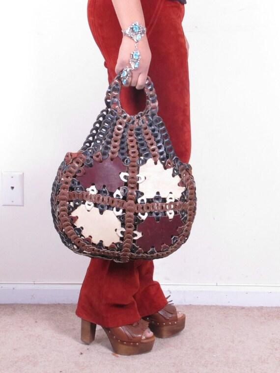 Large Vintage Leather Link HoBo BoHo Slouch Leather Woven Shoulder Bag Purse
