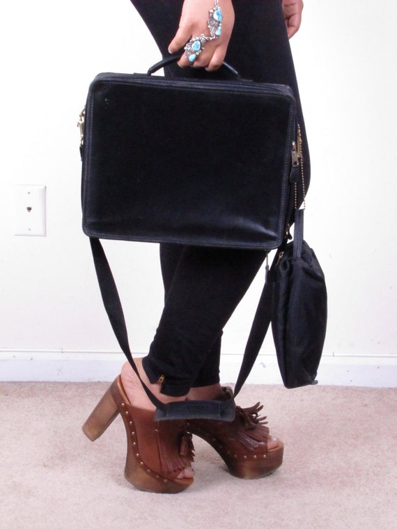 Vintage Black Coach Leather Satche Computer Case Messenger Shoulder Strap Adjustable with Pouch Briefcase Bag