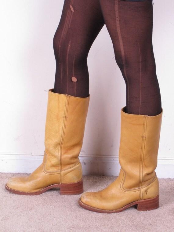 Vintage Frye Marbleized Tan Banana Leather Womans Cowboy
