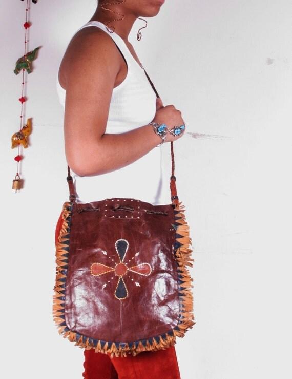 Vintage 70s Tribal Nomad African Leather Tuareg Fringe Shoulder Bag