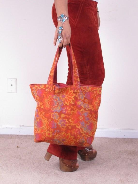 Vintage Large Tapestry Carpet Shopper Handbag Purse Shoulder Bag