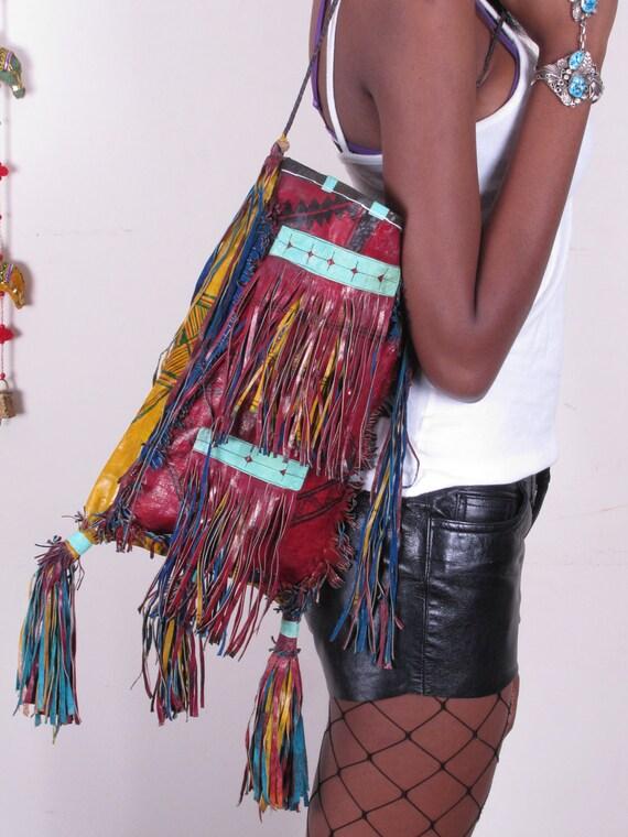 Vintage Tribal Nomad Leather Tuareg Mulit Colored Fringe BoHo Shoulder Bag