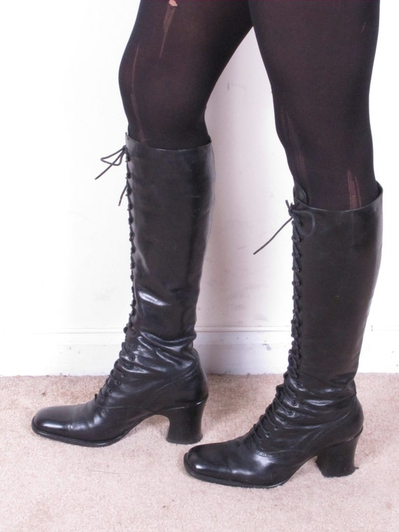 RESERVED vintage 80s PERRY ELLIS black leather lace up granny military army womans tall stacked heel boots sz womans us 7 eur 37 1/2
