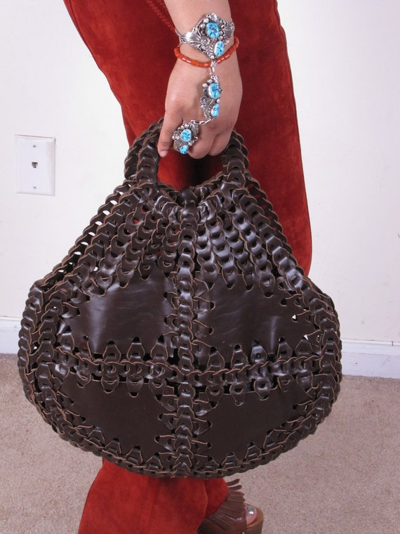 Large 70s Brown Patchwork Vintage Leather Link HoBo BoHo Slouch Leather Woven Weave Shopping Bag Purse Tote
