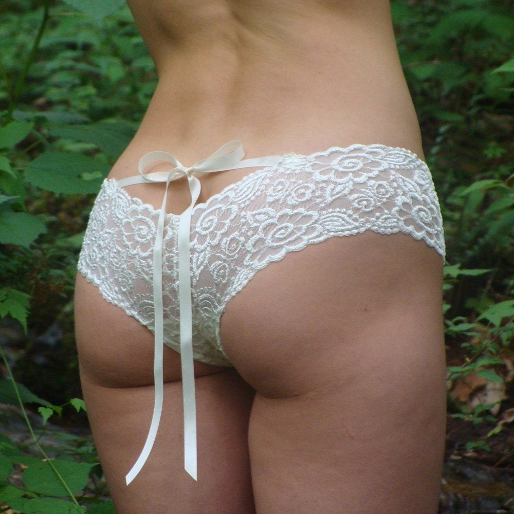 Lingerie Ivory Lace Panties With Satin Ribbons Made To
