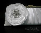 Bridal Clutch Purse In White Satin With Large White Handmade Flower