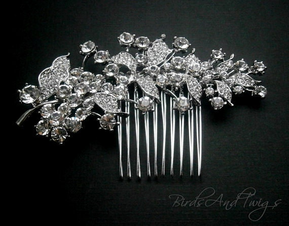 Bridal Crystal Hair Comb Leaf Vine Vintage Weddings Rhinestone Crystal Rhinestone Brooch Comb
