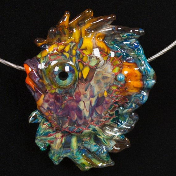 Glass Lampwork Bead Fish -  Kaleidoscope Discus fish