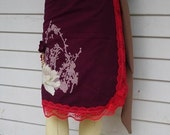 Handmade spring burgandy wrap skirt w\/ applique and print