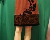 Brown skirt with original vine screenprint