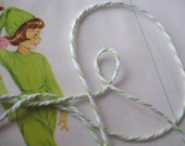 Green and White Bakers twine 10 metres  (9 yds) gift wrapping fun pretty packing