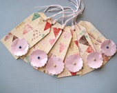 Baby Shower Bunting Gift Tags Paper Flower Set of 6 - Pink Yellow Pastel -Kids Girls Baby Birthday Recycled paper flowers Pretty